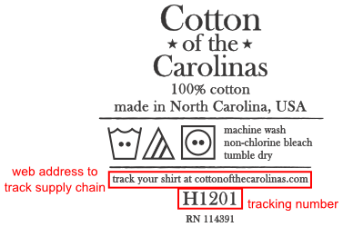Here's our Cotton of the Carolinas neck label with the required tracking info highlighted