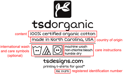 Here's our TSD Organic neck label with the required information highlighted