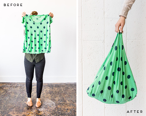 Picture of a t-shirt and a grocery bag made from the t-shirt